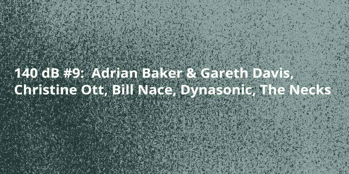 140 dB #9:  Adrian Baker & Gareth Davis, Christine Ott, Bill Nace, Dynasonic, The Necks